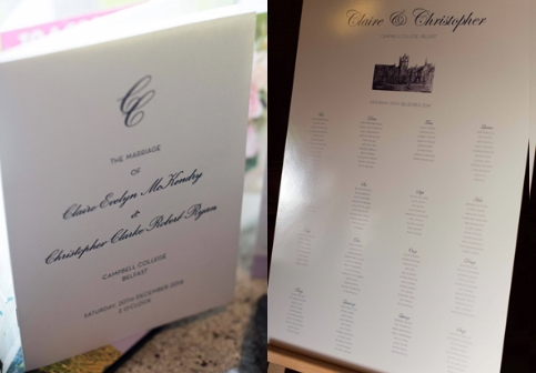 Wedding invite and table plan